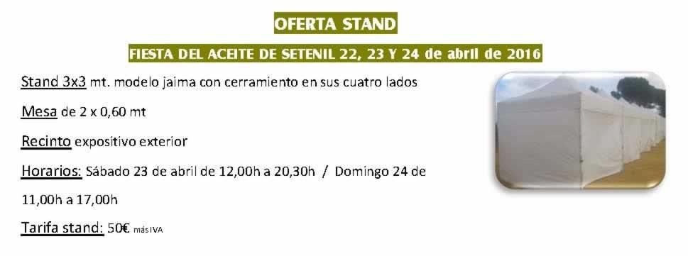 Participa Mercado aceite oliva y artesanias Setenil abril 2016 -OFERTA STAND