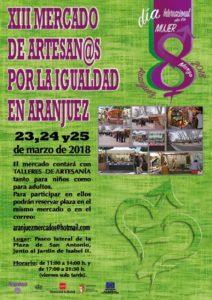 XIII FERIA DE ARTESAN@S POR LA IGUALDAD en Aranjuez, Madrid del 23 al 25 de Marzo del 2018