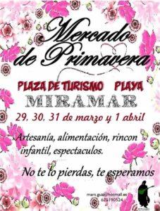 Cartel del mercado de primavera en la playa de Miramar, Valencia