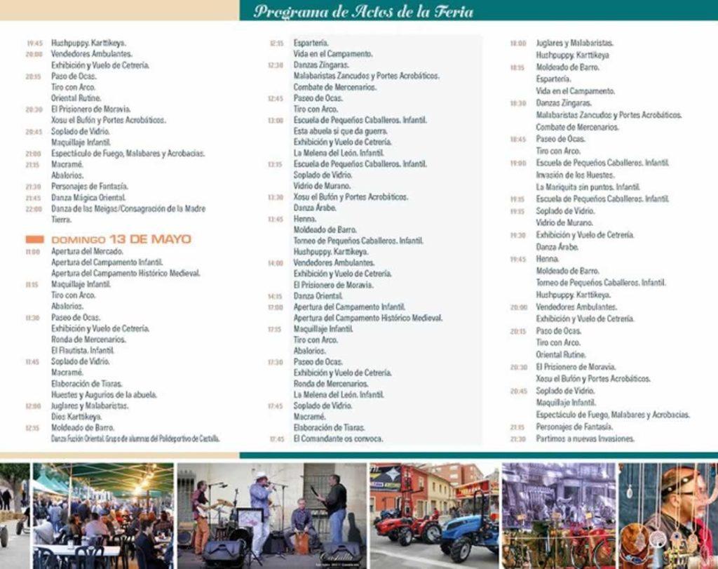 Programacion de las actividades del dia 13 de Mayo del 2018