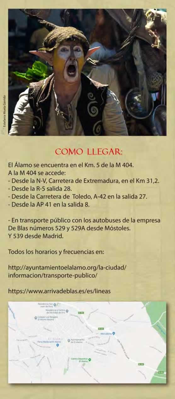 XXIV Gran feria medieval de El Alamo, Madrid - Como llegar