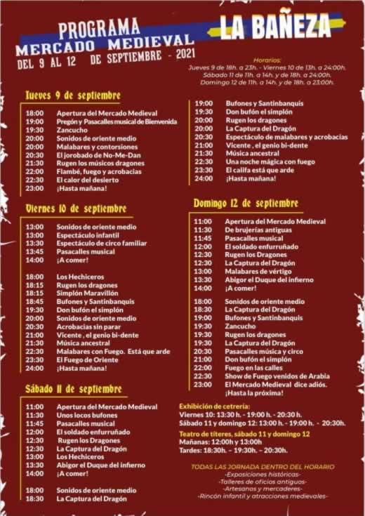 Programa mercado medieval en La Bañeza